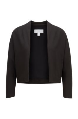 Open-front cropped jacket in Italian satin-back crepe, Black