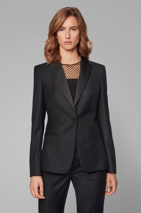 Regular-fit tuxedo-inspired jacket with satin trims, Black