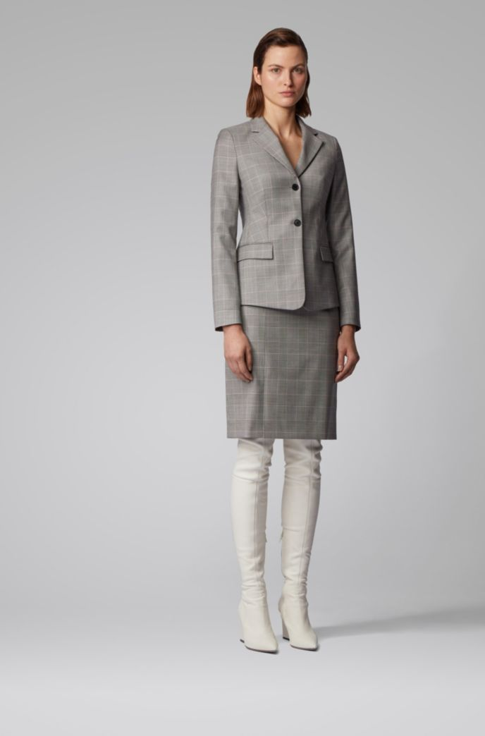 Glen-check pencil skirt in Italian virgin wool