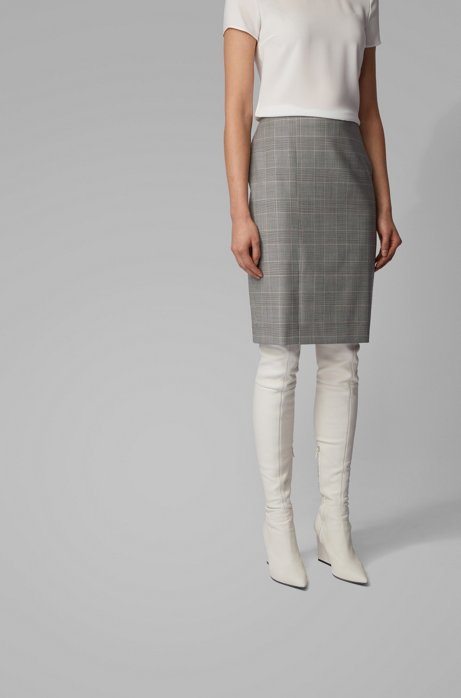 Glen-check pencil skirt in Italian virgin wool, Patterned