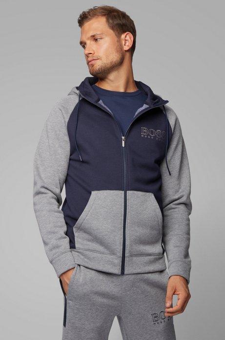 Hooded color-block loungewear jacket in fleece, Dark Blue