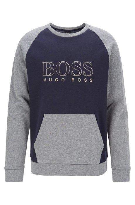 Regular-fit loungewear sweatshirt with outline logo print, Dark Blue