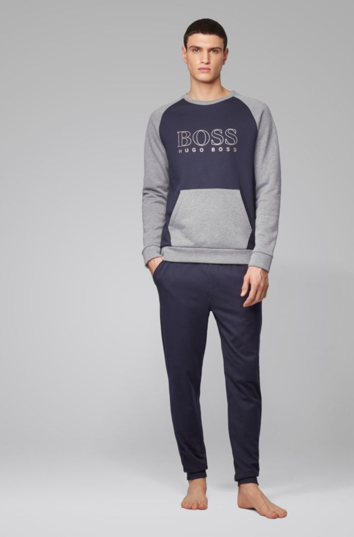 Regular-fit loungewear sweatshirt with outline logo print
