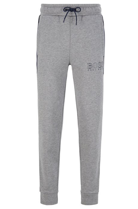 Color-block fleece loungewear pants with outline logo, Dark Blue