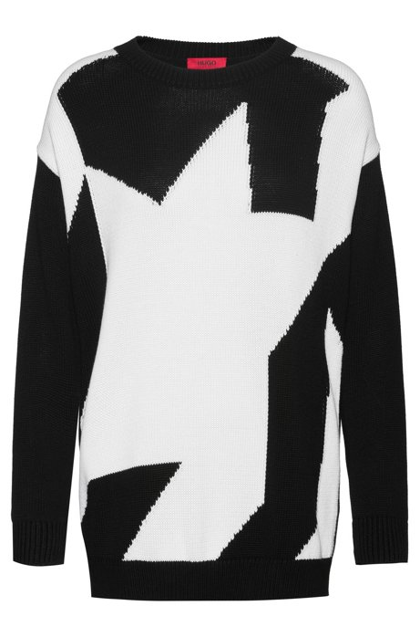 Relaxed-fit sweater with abstract-houndstooth design, Patterned