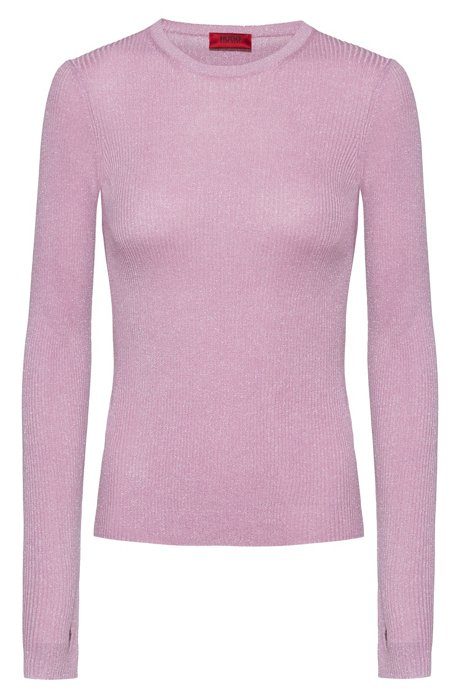 Slim-fit rib-knit sweater with thumbholes, Light Purple