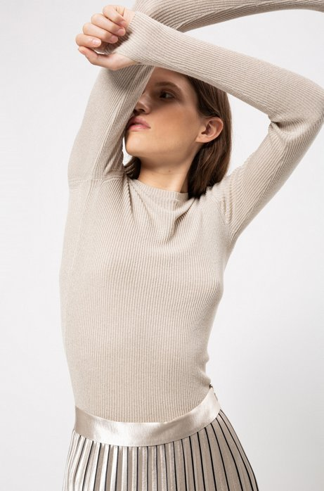 Slim-fit rib-knit sweater with thumbholes, Patterned