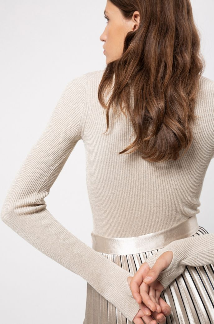 Slim-fit rib-knit sweater with thumbholes