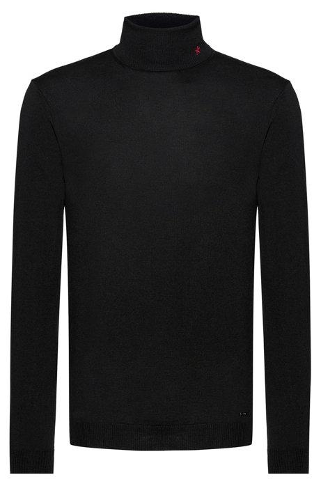 Slim-fit turtleneck sweater in merino wool, Black