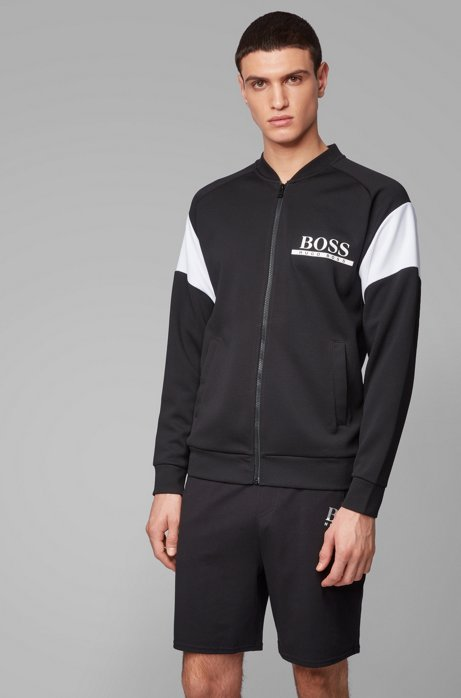 College-style loungewear jacket in piqué fabric with logo, Black