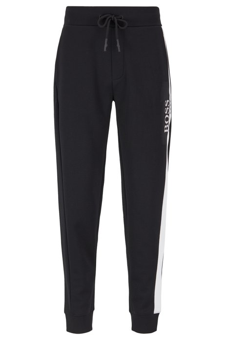 Loungewear pants in piqué fabric with contrast panel, Black