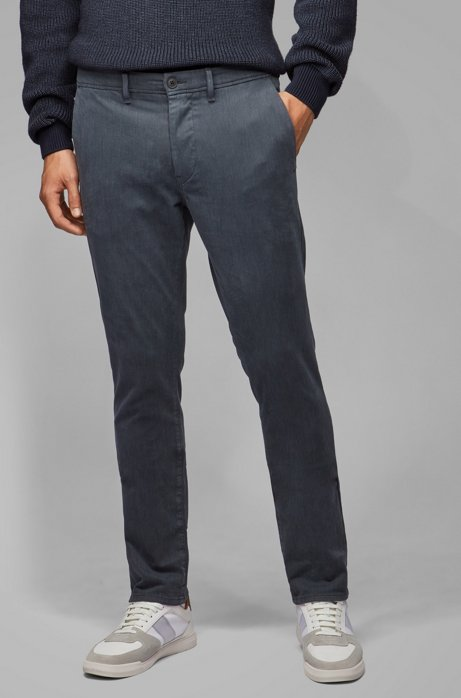 Slim-fit pants in overdyed stretch-cotton twill, Dark Blue
