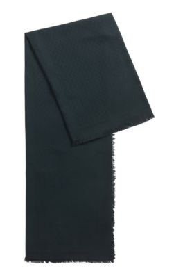Monogram-jacquard scarf in modal with wool, Dark Green