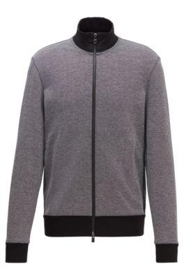 Regular-fit sweatshirt with striped collar in cotton blend, Black