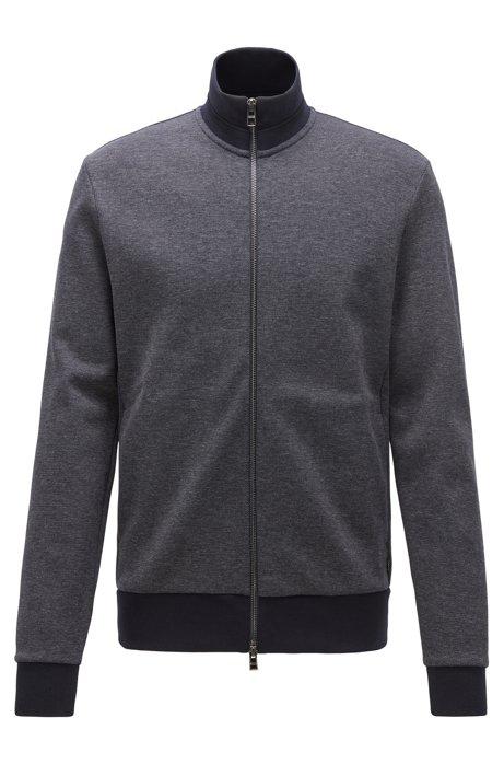 Regular-fit sweatshirt with striped collar in cotton blend, Dark Blue