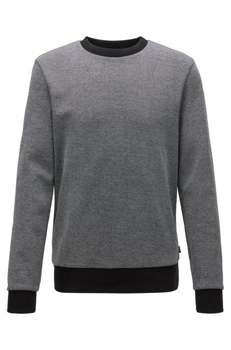 Striped-collar sweatshirt in a cotton-blend jacquard, Black