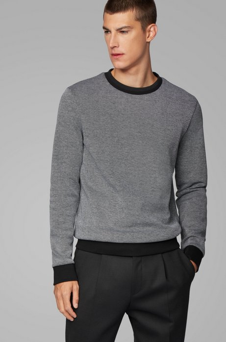 Striped-collar sweatshirt in a cotton-blend jacquard, Black