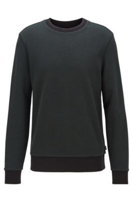 Striped-collar sweatshirt in a cotton-blend jacquard, Open Green