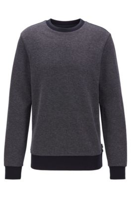 Striped-collar sweatshirt in a cotton-blend jacquard, Dark Blue
