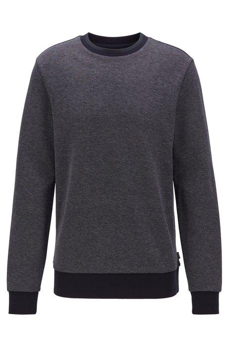 Striped-collar sweatshirt in a cotton-blend jacquard, Dark Blue