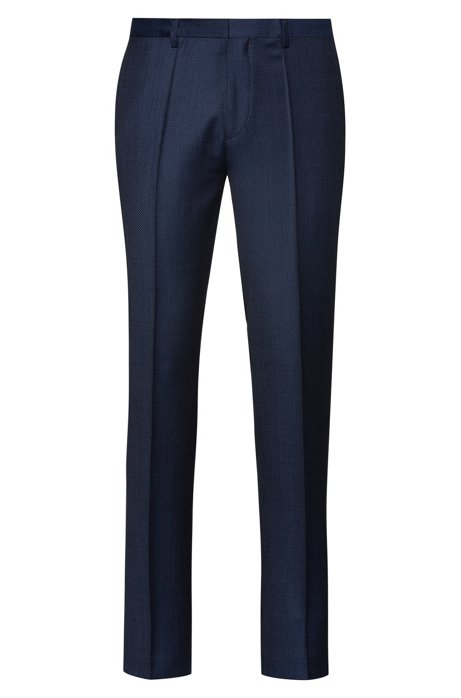 Extra-slim-fit pants in micro-dot virgin wool, Blue