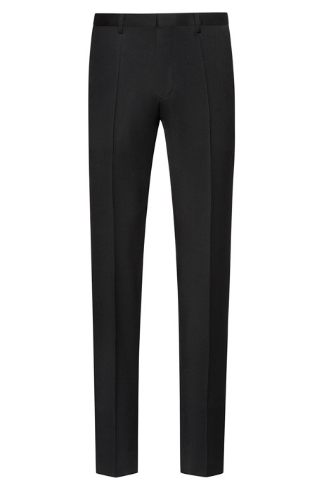 Extra-slim-fit virgin-wool pants with natural stretch, Black