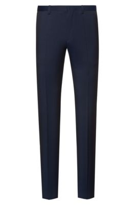 Extra-slim-fit virgin-wool pants with natural stretch, Dark Blue