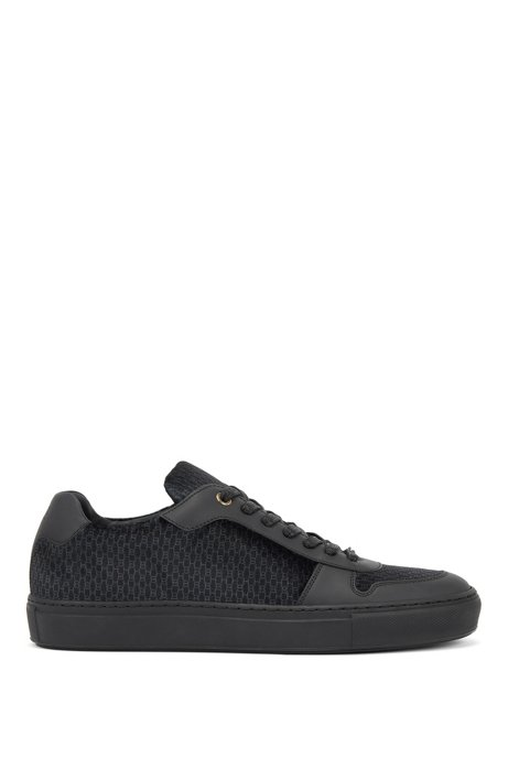 Lace-up sneakers in leather and monogrammed Italian velvet, Black