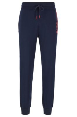 French-terry loungewear pants with contrast details, Dark Blue