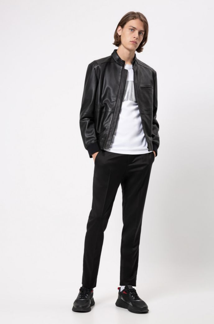Slim-fit biker jacket in nappa leather