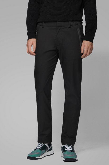 Slim-fit pants in a cotton blend, Black