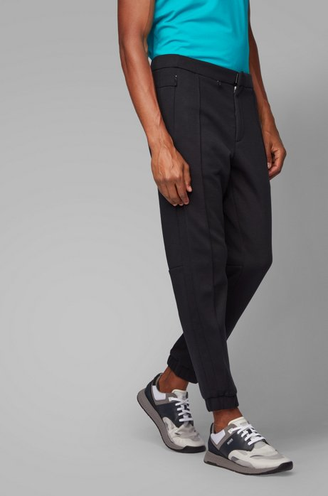 Tapered-fit jogging pants in Italian jersey, Black