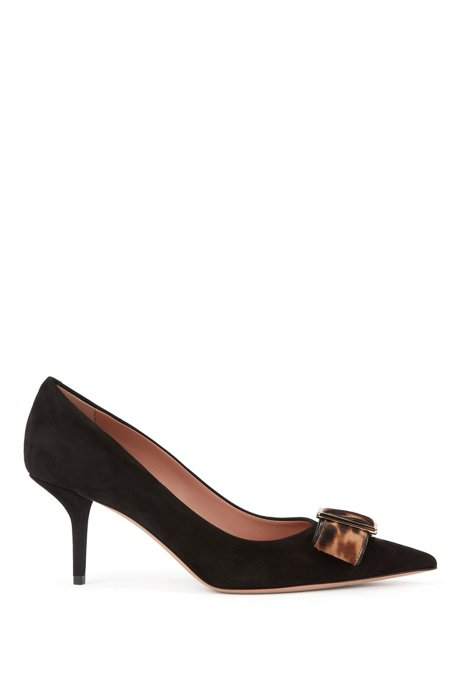 Heeled pumps in Italian suede with calf-hair bow, Black