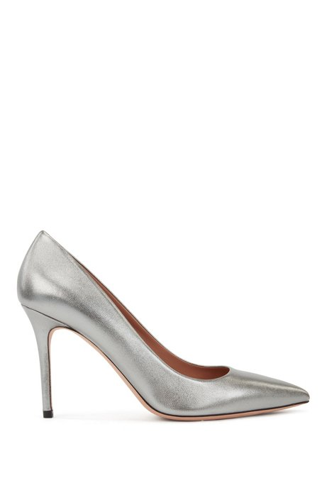 High-heeled pumps in metallic Italian leather, Silver