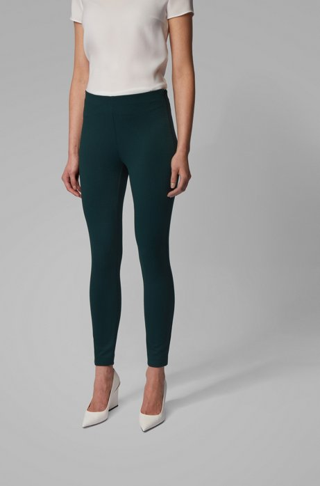 Extra-slim-fit pants in houndstooth stretch jersey, Dark Green