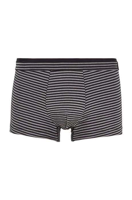 Striped trunks in stretch jersey with layered waistband, Black