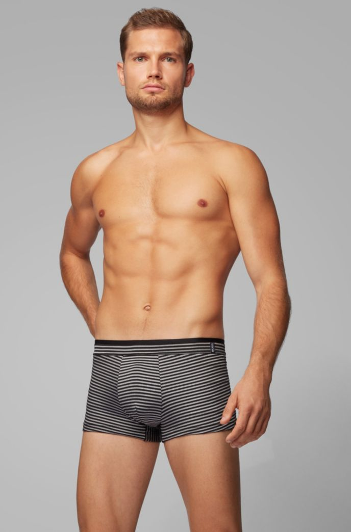 Striped trunks in stretch jersey with layered waistband
