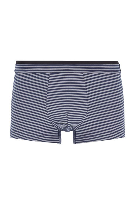 Striped trunks in stretch jersey with layered waistband, Dark Blue