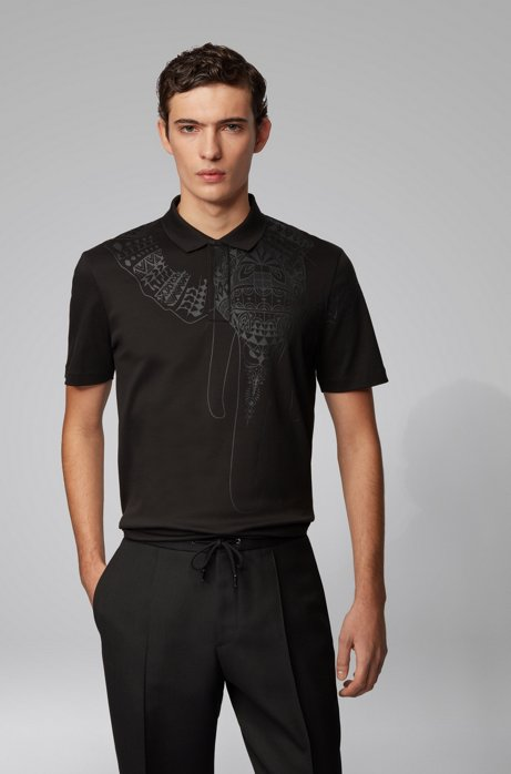 Regular-fit polo shirt with placed-print artwork, Black