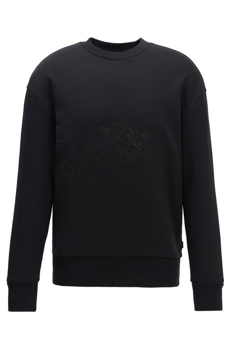 Cotton-terry sweatshirt with tonal embroidery, Black