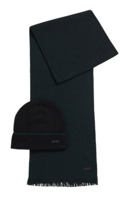Hat and scarf set in cashmere-touch wool, Black