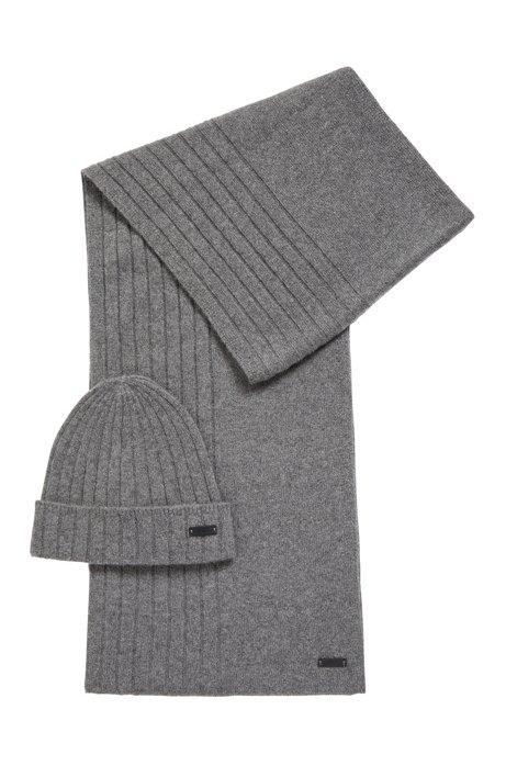 Hat and scarf set in pure cashmere, Grey