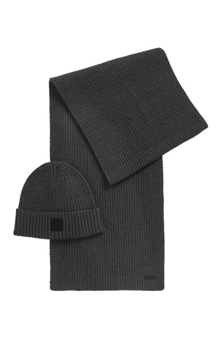 Scarf and hat set in a wool-cotton blend, Grey