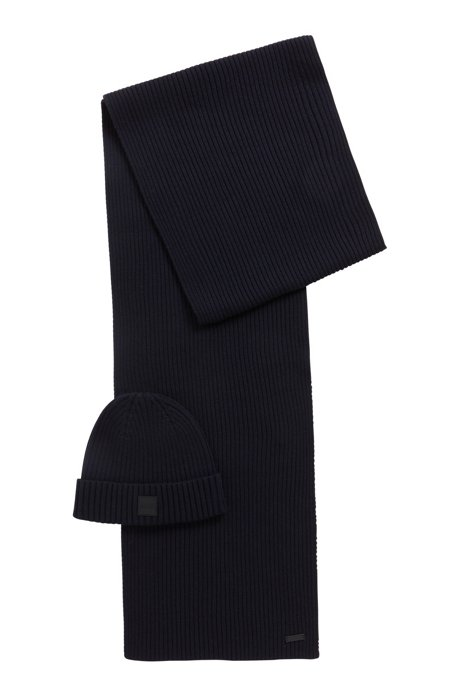 Scarf and hat set in a wool-cotton blend, Dark Blue