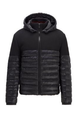 Regular-fit water-repellent jacket in mixed fabrics, Black