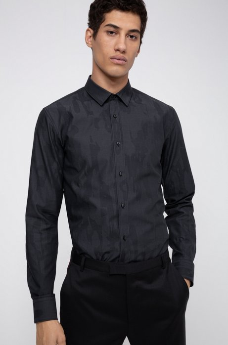 Extra-slim-fit shirt in camouflage cotton jacquard, Black