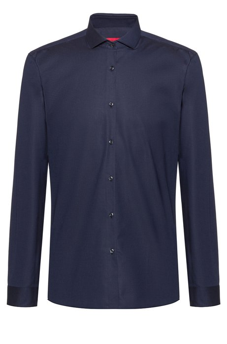 Extra-slim-fit shirt with micro pattern , Dark Blue