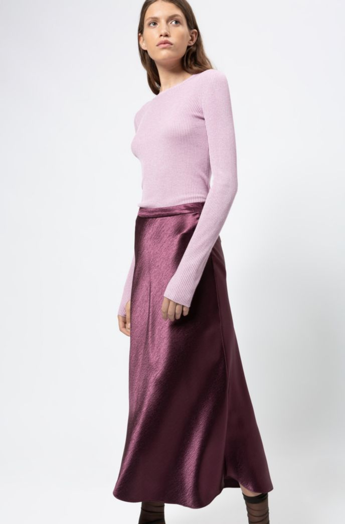 Regular-fit skirt in high-shine fabric