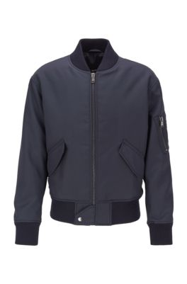 Regular-fit jacket in structured Italian canvas, Dark Blue