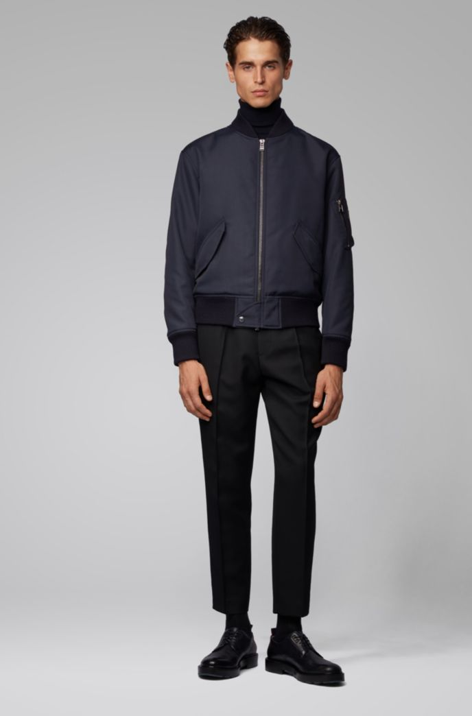 Regular-fit jacket in structured Italian canvas